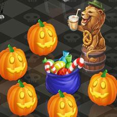 ぱんぱんのキャンディー袋を囲んで盛り上がる、キングオブラテ像のライオンとかぼちゃ達(マイカフェ:レシピ&ストーリー)