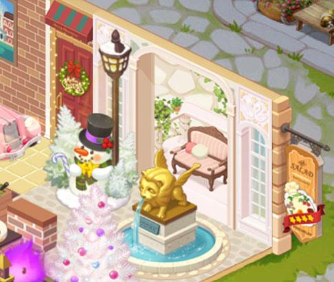 生産デコ「クリスマス雪だるま」と「黄金ライオン噴水台」(どきどきレストラン)