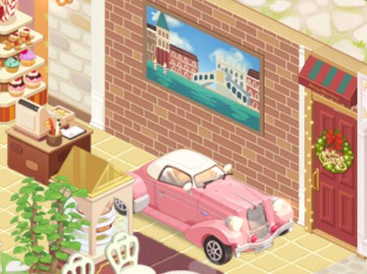 壁デコ「ヴェネツィア風景額縁」や生産デコ「クラシックカー」で飾られたレジ周り(どきどきレストラン)