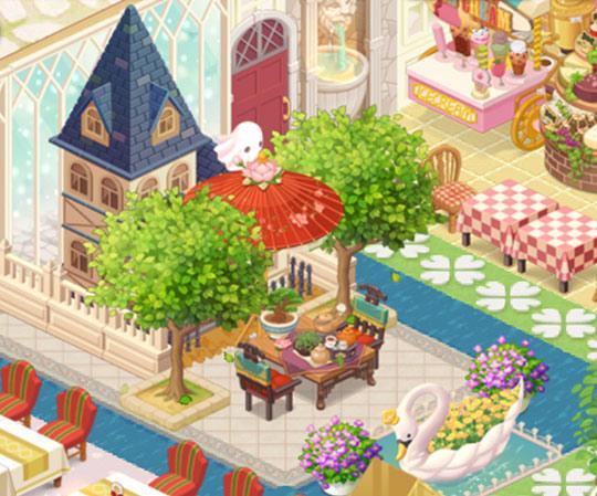 お屋敷の小庭でティータイム席(どきどきレストラン)