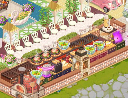 レンガの仕切りに囲まれたキッチンと、白いレースのカウンター席(どきどきレストラン)