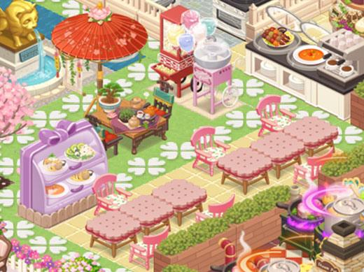 スイーツ&ティータイム席とマカロン大型陳列台(どきどきレストラン)