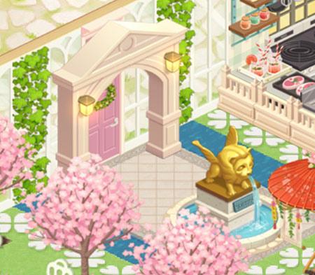 「ヴェネツィアアーチ」と「黄金ライオン噴水台」を飾ったエントランス(どきどきレストラン)