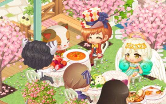 招き猫のおもてなしでニコニコ食事する帽子屋、チェシャ、ラファエル(どきどきレストラン)