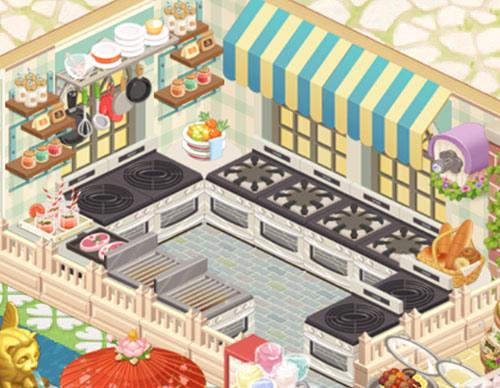 緑にモノトーンを合わせた春っぽいキッチン(どきどきレストラン)