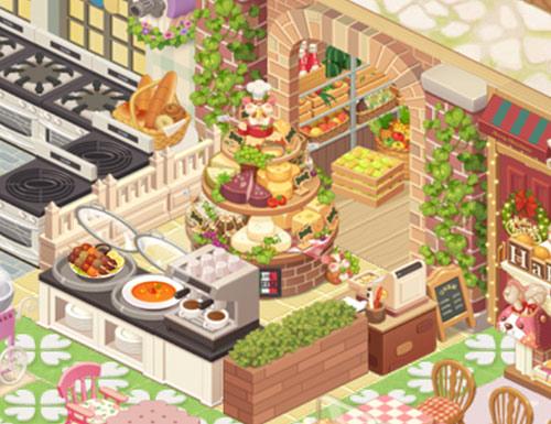 食料庫と陳列台、レジ(どきどきレストラン)