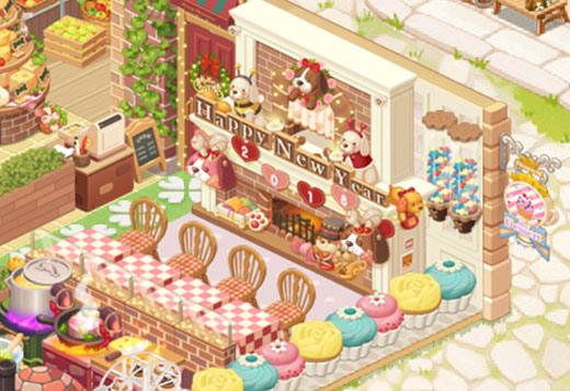 「マフィンプランター」や「暖炉の子犬」が飾られたカウンター席エリア(どきどきレストラン)