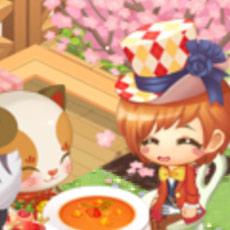 桜の下で食事を楽しむ帽子屋と、おもてなしする招き猫(どきどきレストラン)