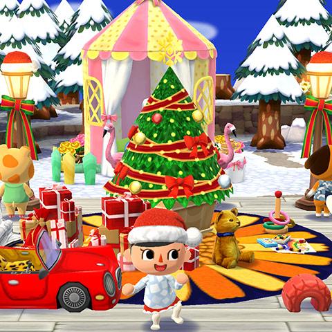 クリスマスアイテムを飾ったキャンプ場の前で踊るプレイヤー(どうぶつの森 ポケットキャンプ)