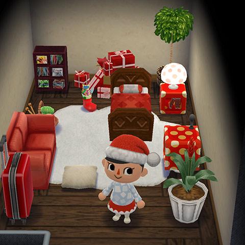 赤いクリスマスカラーなインテリアのキャンピングカー2階部屋(どうぶつの森 ポケットキャンプ)
