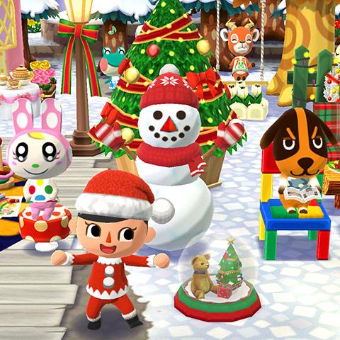 クリスマスツリーを飾ったキャンプ場で記念撮影。雪だるま、ジョン、クリスチーヌ、ペーター、レイニーと、サンタクロース衣装のプレイヤー(どうぶつの森 ポケットキャンプ)