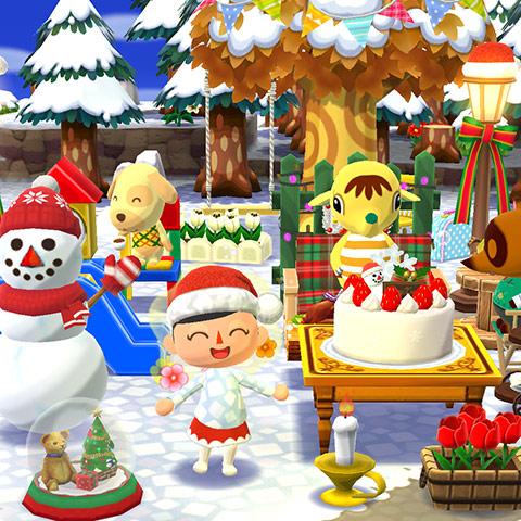 雪だるまやクリスマスケーキに囲まれてごきげんなプレイヤー(どうぶつの森 ポケットキャンプ)