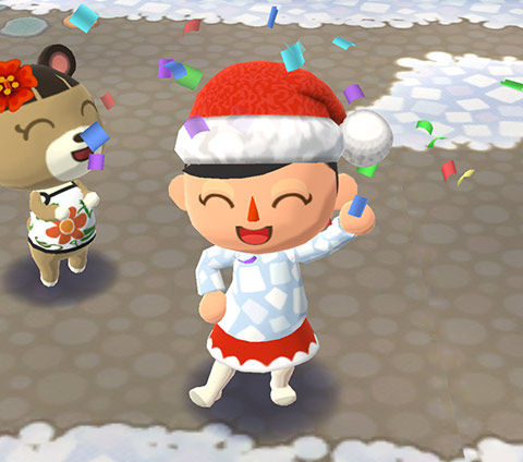 紙吹雪の舞うなか喜ぶプレイヤーとメイ(どうぶつの森 ポケットキャンプ)