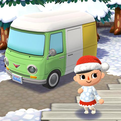 キャンピングカーとポーズをとるプレイヤーキャラクタ(どうぶつの森 ポケットキャンプ)