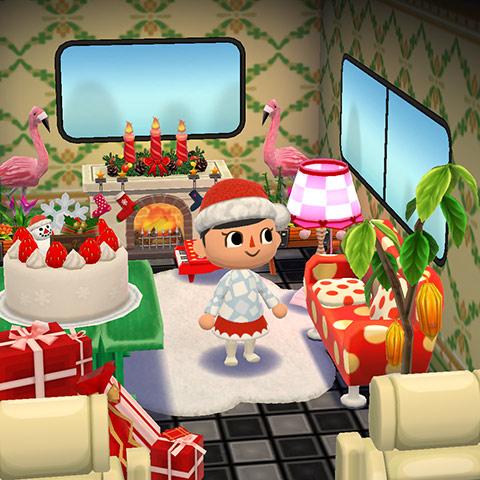 クリスマス装飾したキャンピングカー1階部屋(どうぶつの森 ポケットキャンプ)