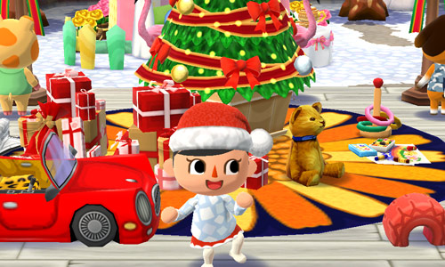クリスマスツリーやプレゼントの山の前で踊るプレイヤーキャラクタ(どうぶつの森 ポケットキャンプ)