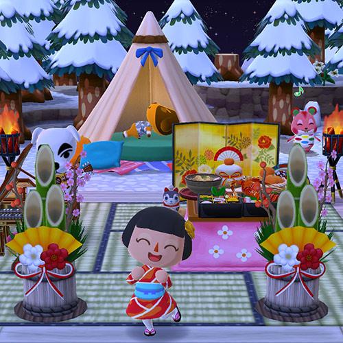 畳にお正月アイテムを飾ったキャンプ場(どうぶつの森 ポケットキャンプ)