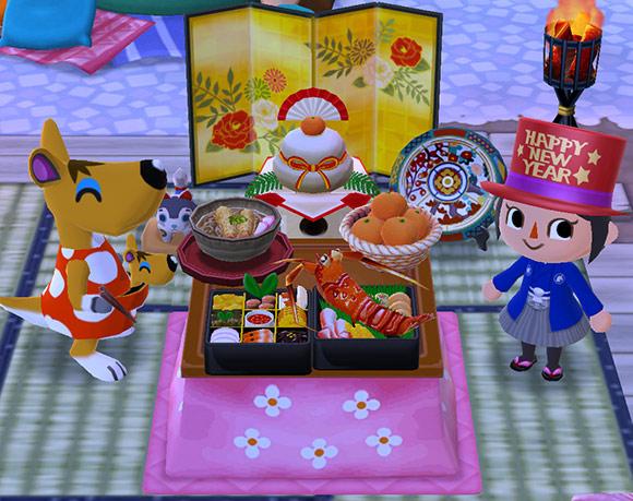 鏡餅飾り前のこたつで、おせち料理、みかん、年越しそばに喜ぶマミィと子ども、ニューイヤーハットに袴姿のプレイヤーキャラ(どうぶつの森 ポケットキャンプ)