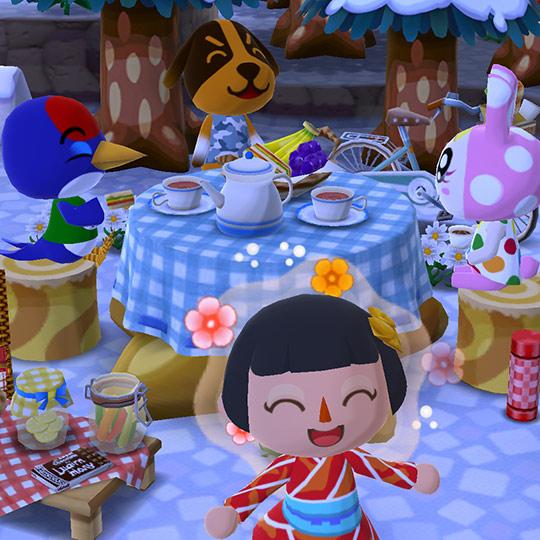 ピクニックセットで楽しむ、どうぶつ達(どうぶつの森 ポケットキャンプ)