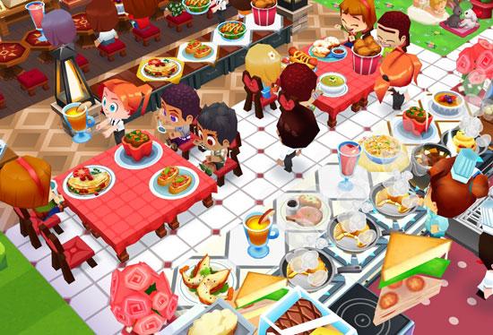 赤いハートチェアで料理をガツガツ食べるお客さんたち(レストランストーリー2)