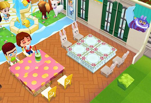 チェシャ猫、クラシックラブスタイル・テーブル、イースターバニースタイル・チェア、ヴィーナスロイヤルスタイル・テーブル、ニューイヤースタイル・チェア(レストランストーリー2)
