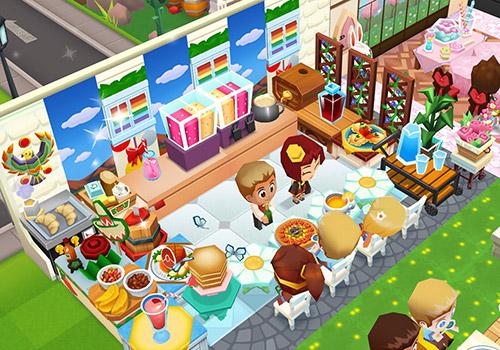デイジースタイルのテーブルやレインボーの窓など、さわやかコーディネートのカウンター席(レストランストーリー2)