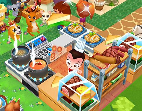 ウェルカム広場前の調理ブース:にこにこ料理するコックさんと、匂いに興奮する犬やカンガルー、コアラ(レストランストーリー2)