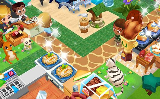 肉の横で満足げに、キリン模様の通路を見守るホワイトタイガー(レストランストーリー2)
