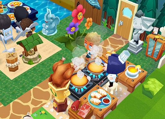 入り口近くの実演調理ブース。お客さんに美味しい匂いがふりかかる(レストランストーリー2)