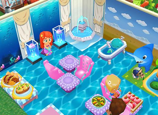 竜宮城っぽい海中サンゴ席。人魚にクラゲ、タコさんがおもてなし(レストランストーリー2)
