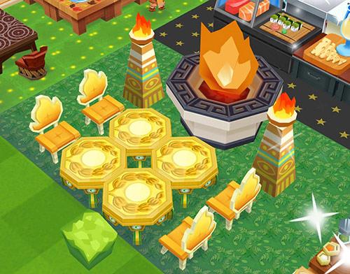 大きな火が燃える、祝勝バーベキュー席(レストランストーリー2)