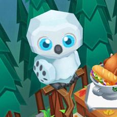 森っぽい壁紙前にとまるフクロウ:ツリーラインスタイル、スノーイーアウル(レストランストーリー2)
