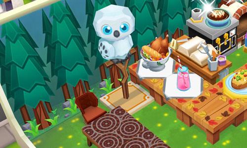 森の中のカフェでテーブルを見守るフクロウ(レストランストーリー2)