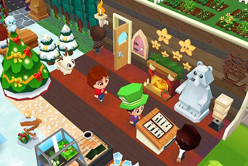 クリスマスツリー、赤ちゃんトナカイ、クリスマス暖炉、スターフィッシュフレンド、木彫りのホッキョクグマなどで飾られた、エントランスと受付(レストランストーリー2)