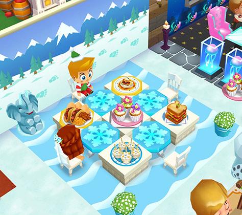 雪の山景色の壁や、雪や氷っぽい床に、スノーフレイクのテーブルなどを合わせたパーティー席(レストランストーリー2)