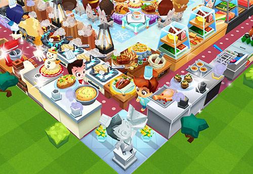 調理器具がV字に並ぶ調理場と、その中央にたたずむシェフの像(レストランストーリー2)