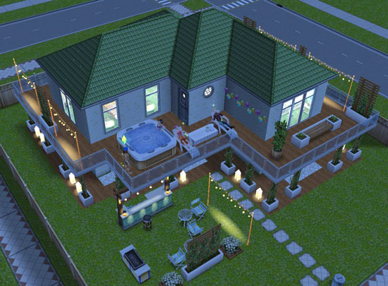バルコニーの長椅子でまどろむシムたち(The Sims フリープレイ)