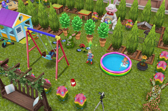 イースターエッグやバニーに囲まれて遊ぶ子どもたち(The Sims フリープレイ)