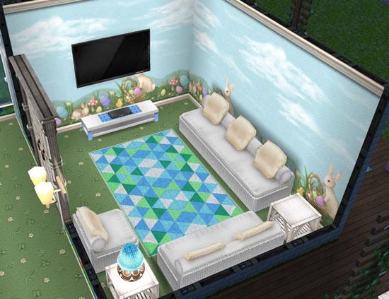 イースターの壁と床のテレビルーム(The Sims フリープレイ)