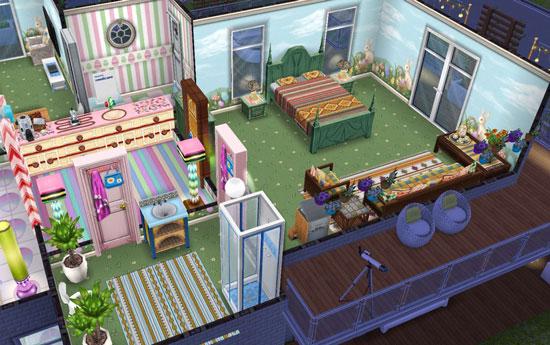 イースター壁床と合わせたラテン家具のベッドルームとお菓子家具のキッチン(The Sims フリープレイ)