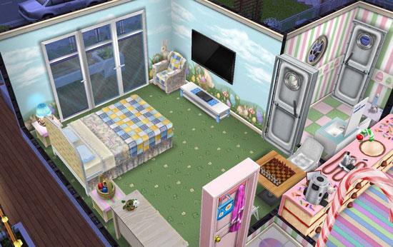 イースター壁床とキルト家具のベッドルーム(The Sims フリープレイ)