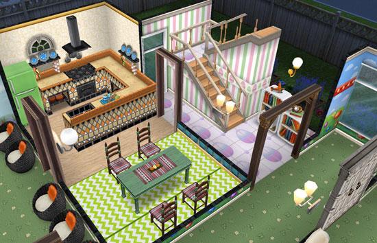 イースターの卵床とストライプ壁を合わせた階段(The Sims フリープレイ)
