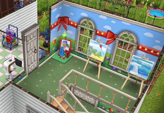 青空にリボンのイースター壁とおえかきルーム(The Sims フリープレイ)