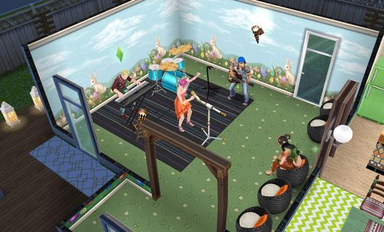 青空イースター壁にした野外ライブ風の部屋(The Sims フリープレイ)