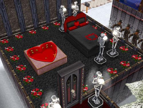毒々ロマンチックな夫婦の寝室(The Sims フリープレイ)