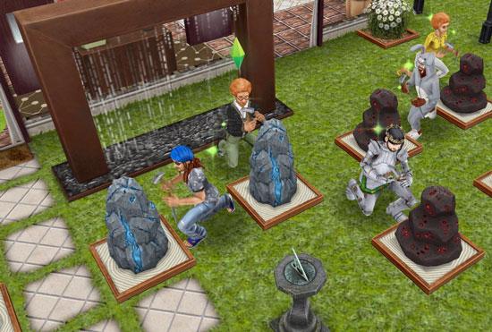 スパイベントで鉱石集めに精を出すシムたち(The Sims フリープレイ)