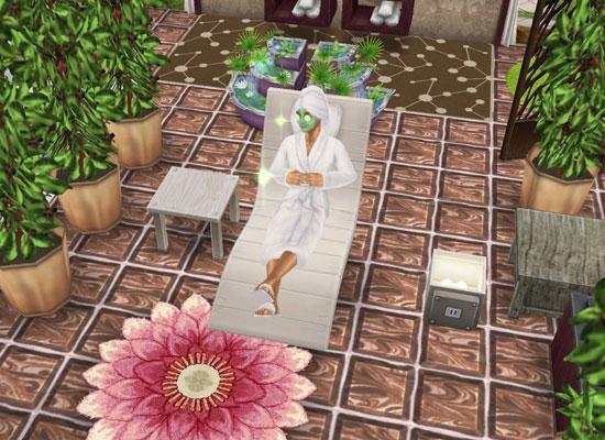 スパの泥パックでくつろぐシム(The Sims フリープレイ)