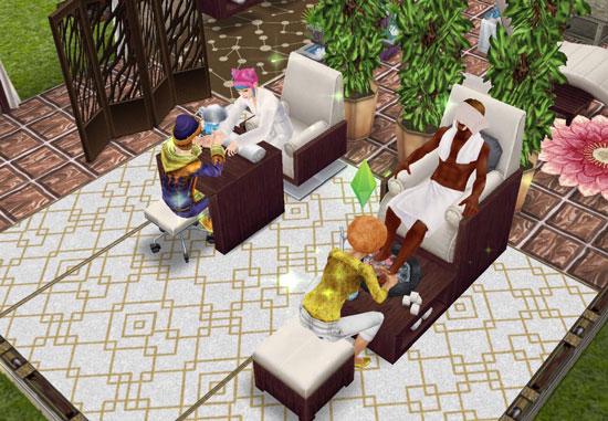 フットスパでくつろぐシム(The Sims フリープレイ)