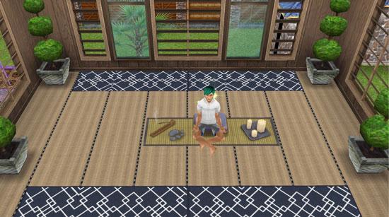 畳の部屋で瞑想するシム(The Sims フリープレイ)