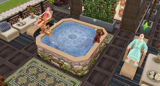 スパの岩風呂でくつろぐシムたち(The Sims フリープレイ)